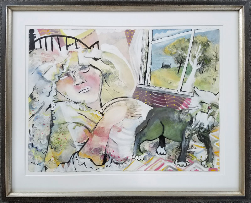 Charles Wilder Oakes - Cat Nap - Watercolor $8,500.