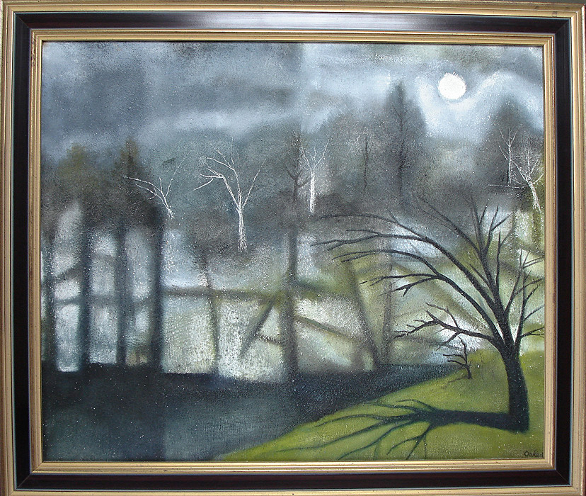 Charles Wilder Oakes - Moonlight Quarry - Oil on Canvas $7,500.